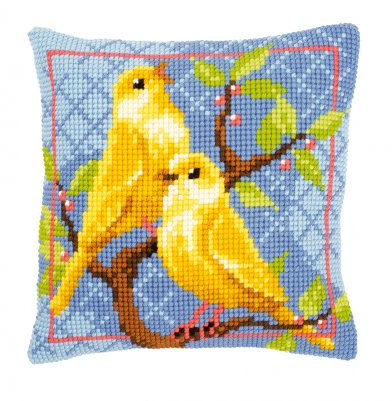click here to view larger image of Canaries Pillow (counted cross stitch kit)