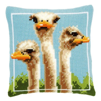 click here to view larger image of Ostriches Pillow (counted cross stitch kit)