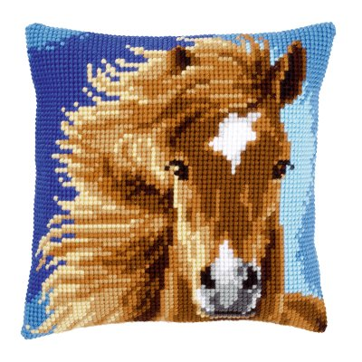 click here to view larger image of Brown Horse Pillow (counted cross stitch kit)
