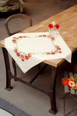 click here to view larger image of Poppies Table Cloth (stamped cross stitch kit)