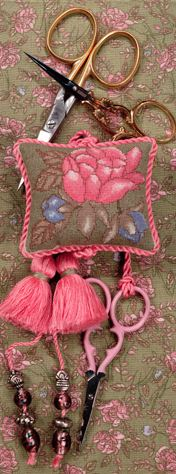 click here to view larger image of Pink Peony Scissors Fob (counted cross stitch kit)