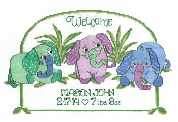 click here to view larger image of Baby Elephant Birth Announcement (chart)