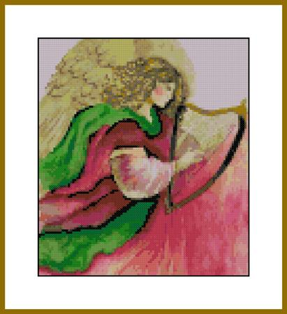 click here to view larger image of Angelic Harp Watercolor (chart)