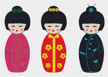 click here to view larger image of Kokeshi Dolls (chart)