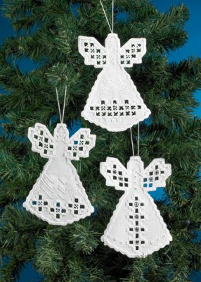click here to view larger image of Angel Hardanger Ornaments (3 designs) (counted cross stitch kit)