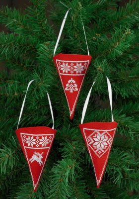 click here to view larger image of Cone Ornaments - Red (chart)