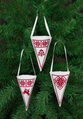 click here to view larger image of Cone Ornaments - White (chart)