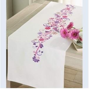 click here to view larger image of Pink and Purple Fantasy Table Runner (stamped cross stitch kit)