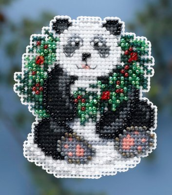 click here to view larger image of Holiday Panda - Seasonal Ornament / Pin Kit (counted cross stitch kit)