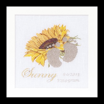 click here to view larger image of Birth Sampler - Sunny - 36ct (counted cross stitch kit)