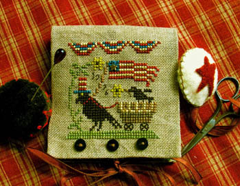 click here to view larger image of Uncle Sam Crow Needle Case & Fob (chart with charms/buttons)