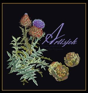 click here to view larger image of Artichoke (on black) (counted cross stitch kit)