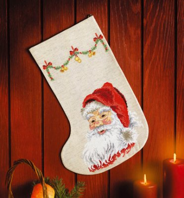 click here to view larger image of Merry Santa Claus Stocking (counted cross stitch kit)