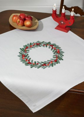 click here to view larger image of Christmas Wreath Table Cloth (stamped cross stitch kit)