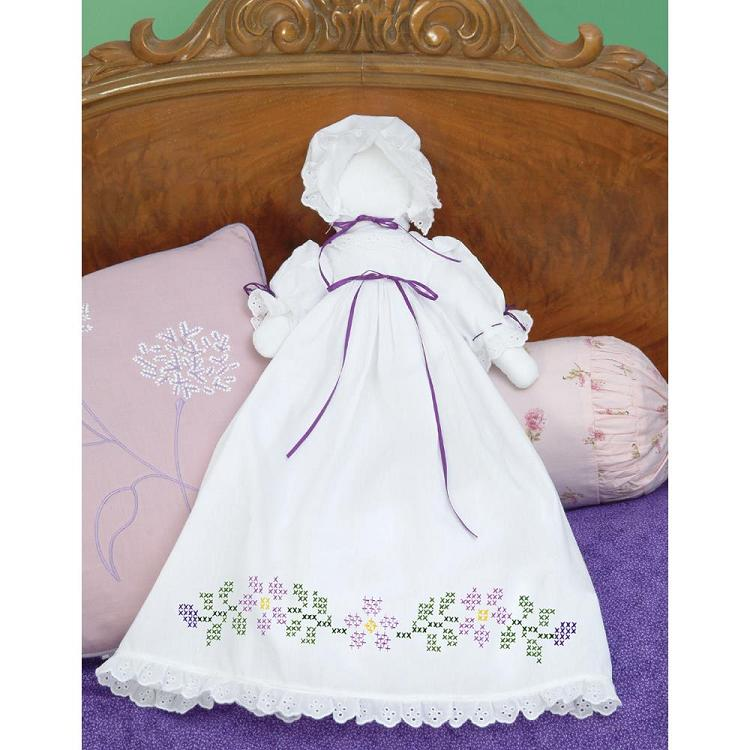 click here to view larger image of Stamped White Pillowcase Doll Kit - Starflowers (stamped cross stitch)