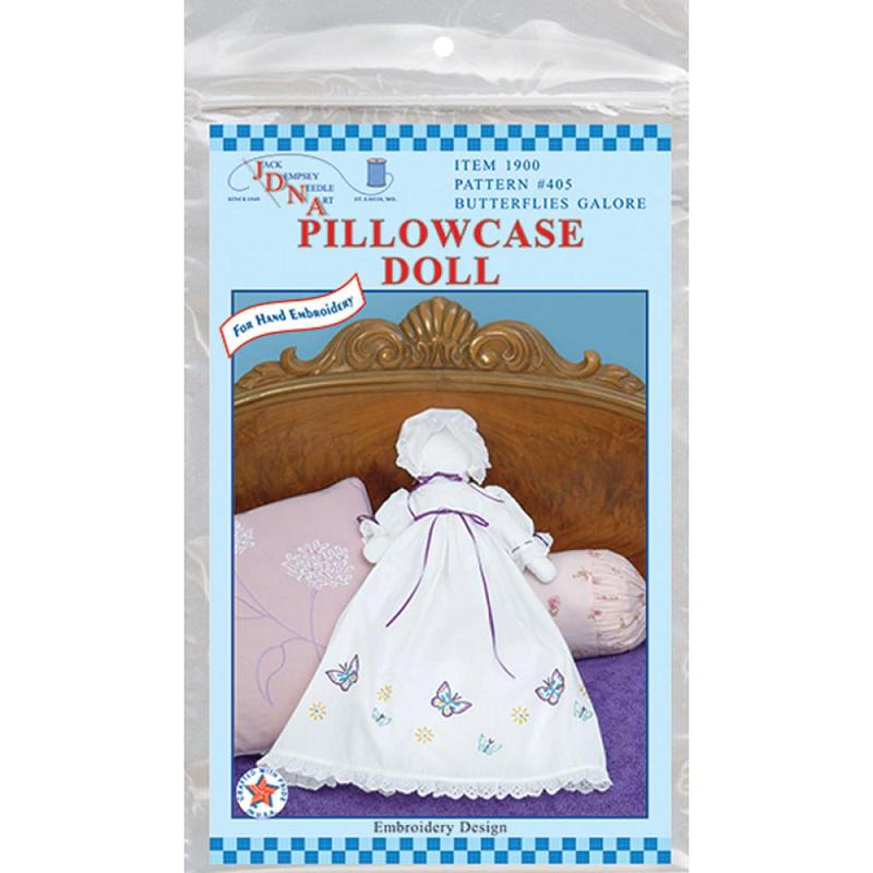 click here to view larger image of Stampled White Pillowcase Doll - Butterflies Galore (stamped cross stitch)