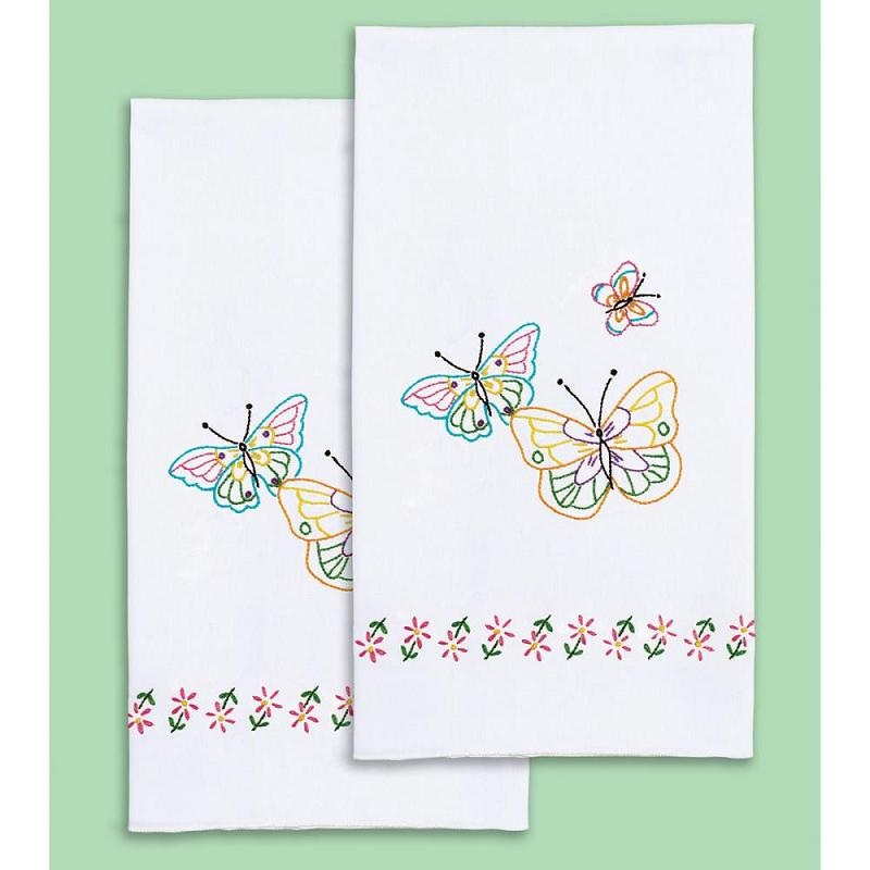 click here to view larger image of Fluttering Butterflies Stamped White Decorative Hand Towel (stamped cross stitch)