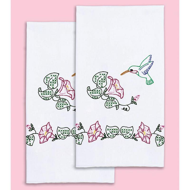 click here to view larger image of Hummingbird Stamped White Decorative Hand Towel (stamped cross stitch)