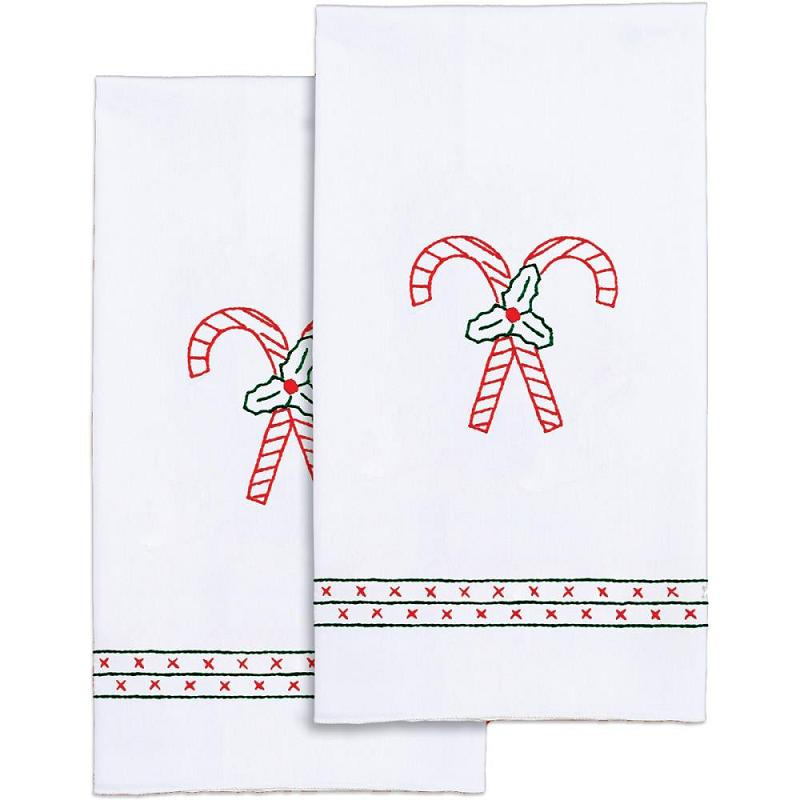 click here to view larger image of Candy Canes Stamped White Decorative Hand Towel (stamped cross stitch)
