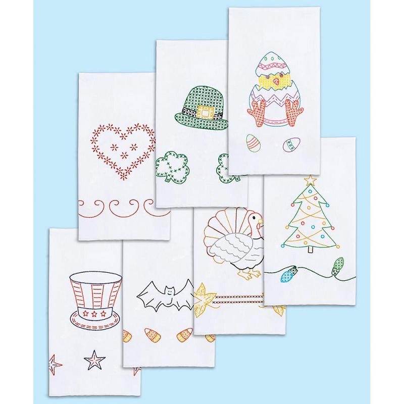 click here to view larger image of Holidays of the Year Stamped White Decorative Hand Towels (stamped cross stitch)