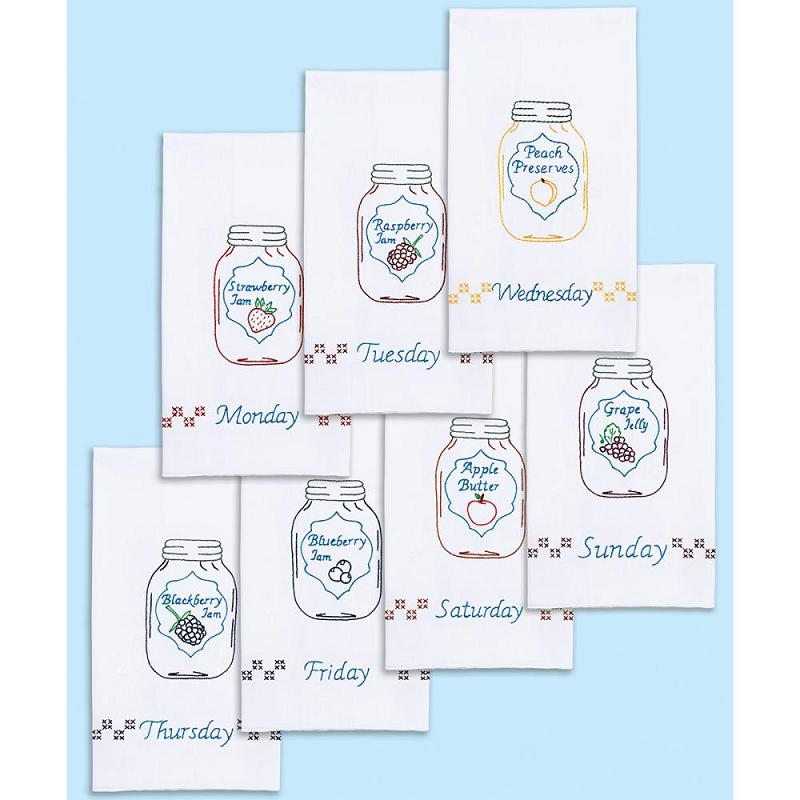 click here to view larger image of Mason Jars Days of the Week Stamped White Decorative Hand Towels (stamped cross stitch)