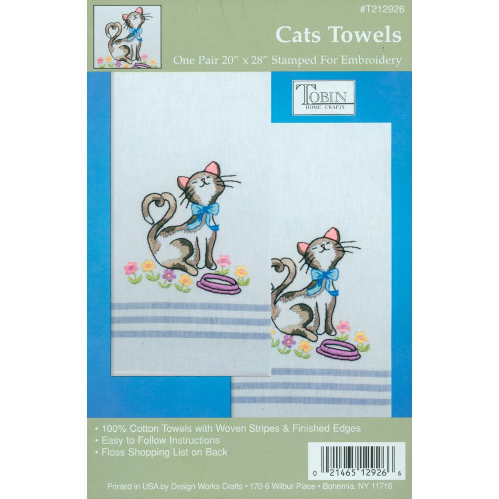click here to view larger image of Cats Stamped Kitchen Towels (stamped cross stitch)