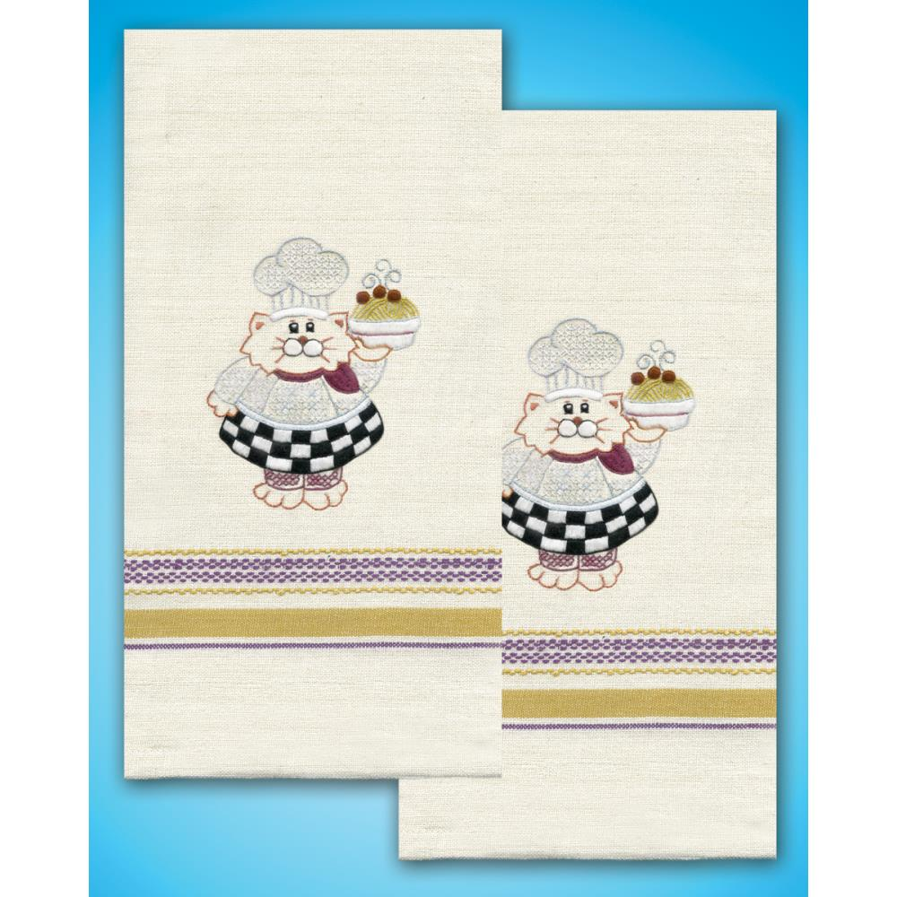 click here to view larger image of Cat Chef Stamped Kitchen Towels (stamped cross stitch)