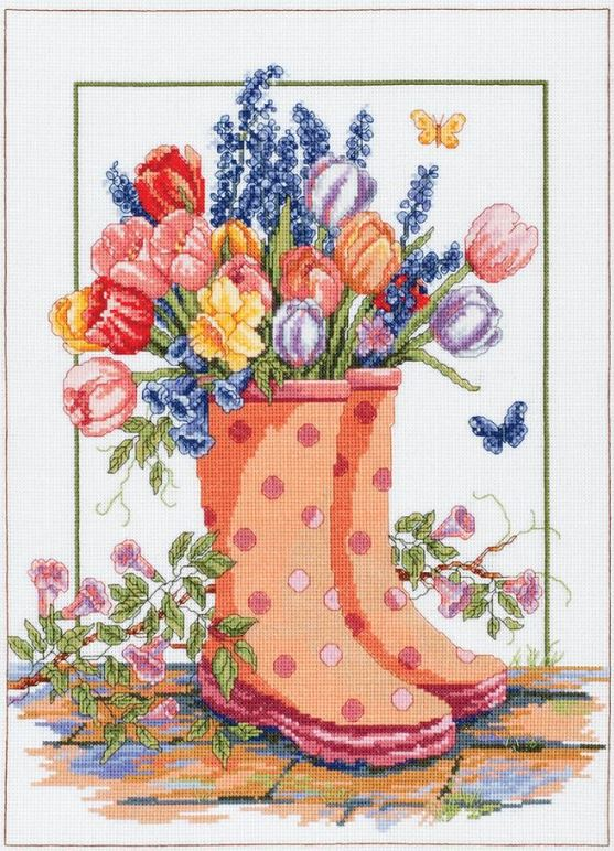 click here to view larger image of Spring Floral Rainboots (counted cross stitch kit)