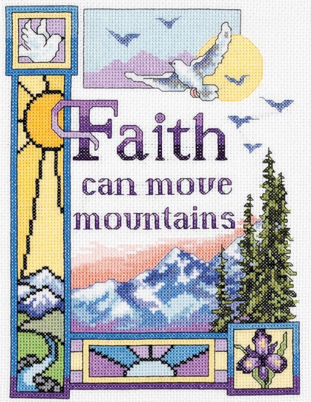 click here to view larger image of Faith Can Move Mountains (counted cross stitch kit)