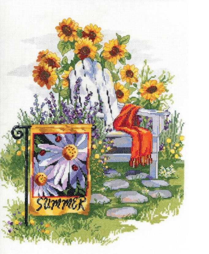 click here to view larger image of Summer Garden Flag  (counted cross stitch kit)