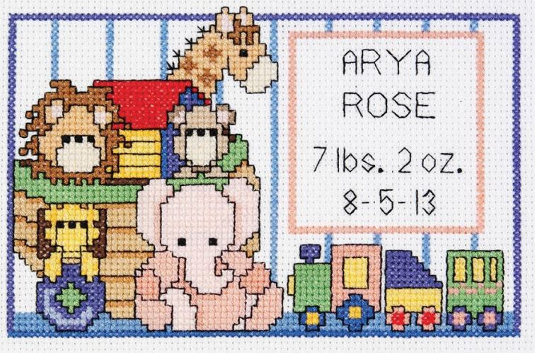 click here to view larger image of Noahs Ark Birth Sampler Mini (counted cross stitch kit)