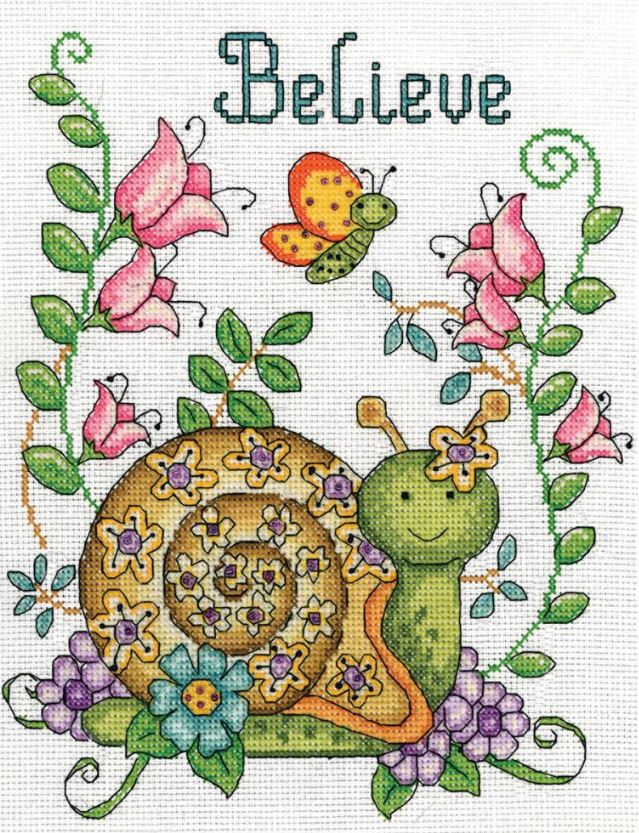 click here to view larger image of Believe (Snail) (counted cross stitch kit)