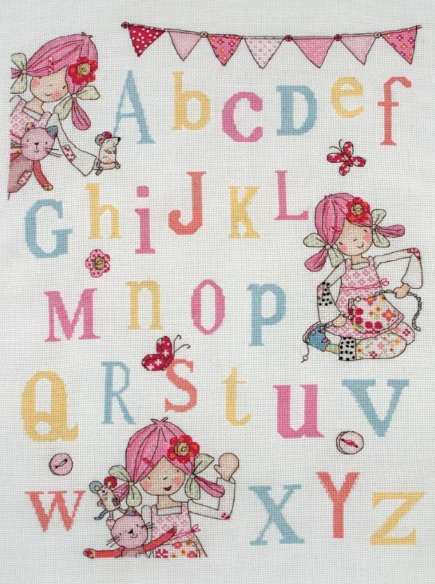 click here to view larger image of Emily Button Alphabet Sampler (counted cross stitch kit)