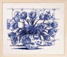 click here to view larger image of Indigo Tulips (counted cross stitch kit)