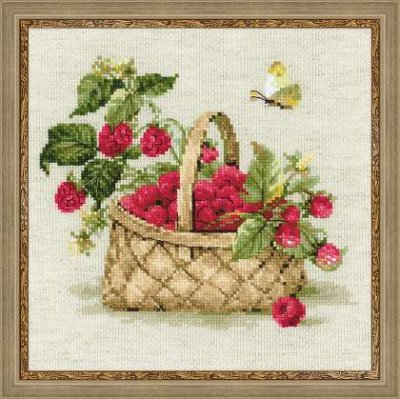 click here to view larger image of Basket with Raspberries (counted cross stitch kit)