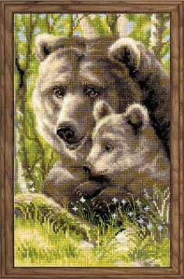 click here to view larger image of Bear with Cub (counted cross stitch kit)