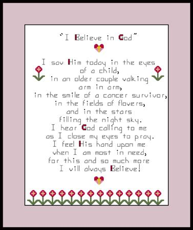 click here to view larger image of I Believe In God Sampler (chart)