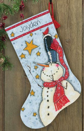 click here to view larger image of Tall Hat Snowman Stocking (counted cross stitch kit)