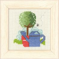 click here to view larger image of Blue Watering Can Mini Kit (counted cross stitch kit)
