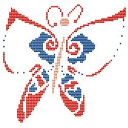 click here to view larger image of Summer Butterfly Red / Blue (chart)