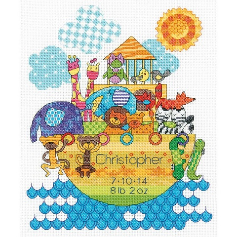 click here to view larger image of Noahs Animals Birth Record (counted cross stitch kit)