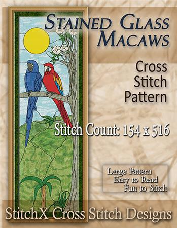 click here to view larger image of Stained Glass Macaws (chart)