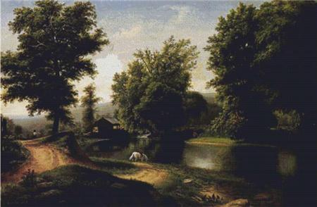 click here to view larger image of Boy on a White Horse at Edge of Pond (chart)