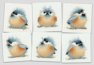 click here to view larger image of Chick Square Coasters - Little Friends by Valerie Pfeiffer (counted cross stitch kit)