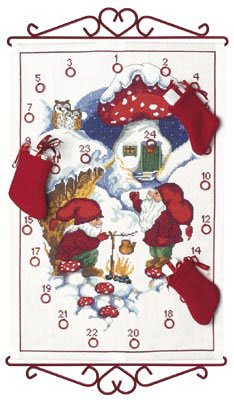 click here to view larger image of Advent Calendar - Elf & Tea (counted cross stitch kit)