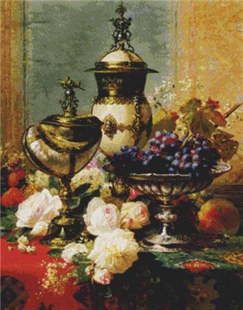 click here to view larger image of A Still Life with Roses, Grapes, and a Silver Inlaid Nautilus Shell (chart)
