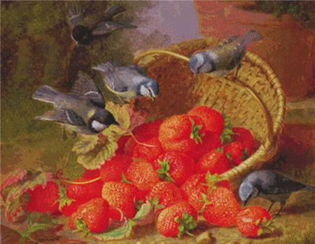 click here to view larger image of Still Life - Strawberries and Bluetits  (Eloise Harriet Stannard) (chart)