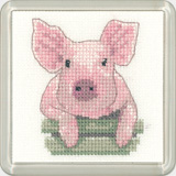 click here to view larger image of Pig - Little Friends Coaster Kit (counted cross stitch kit)