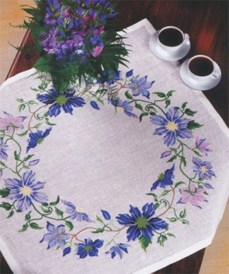 click here to view larger image of Blue Clematis (counted cross stitch kit)