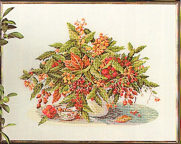click here to view larger image of Berry Bouquet (Aida) (counted cross stitch kit)